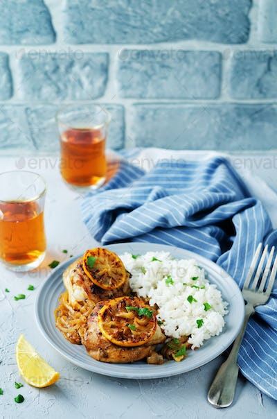 Maroccan lemon chicken with rice