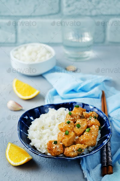 Orange teriyaki chicken with rice