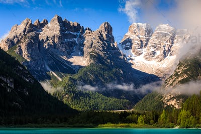 Lago di Landro Lake in the Dolomites, South Tyrol, Italy, Europe