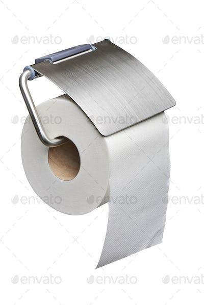 White toilet roll paper dispenser isolated