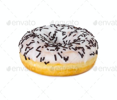 Donut with white icing and chocolate sprinkles