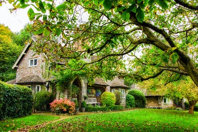 A quaint English cottage in Autumn