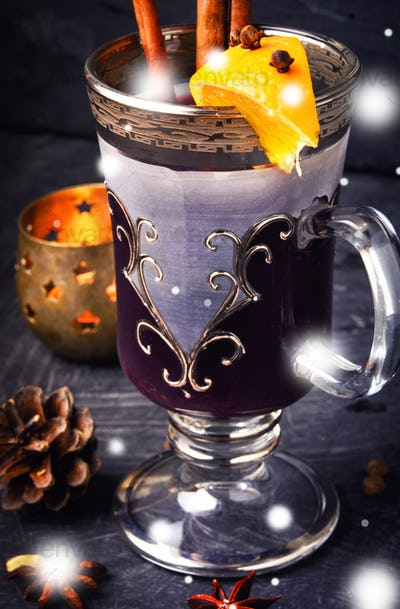mulled wine in stylish glass