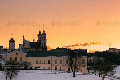 Vitebsk, Belarus. Sunrise Sky Over Local Landmark Holy Resurrect