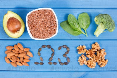 Ingredients containing omega 3 acids, unsaturated fats and fiber