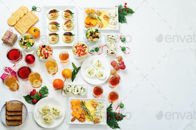 Christmas appetizers celebration table setting
