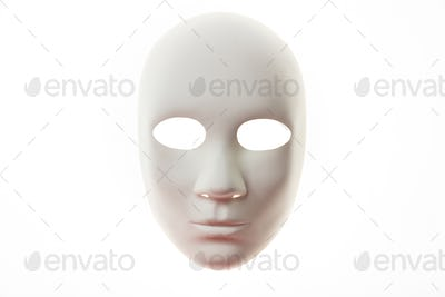 White carnival mask isolated on white background