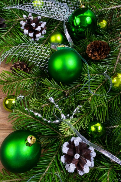 Christmas green baubles, pine cones and silver beads swag