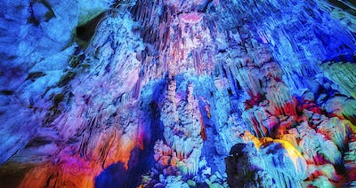 The Reed Flute Cave, natural abstract background.