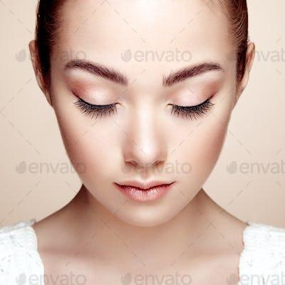 Beautiful woman face. Perfect makeup