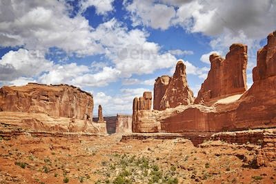 Park Avenue Trail view in Arches National Park, USA.