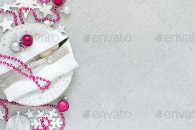 White, silver and pink Christmas Table Setting