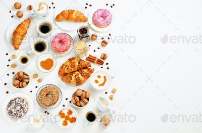 White background with different types of coffee and desserts to