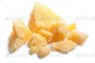 Rough mature Parmesan cheese pieces, paths