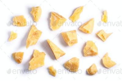 Hard mature Parmsean cheese pieces, paths, top