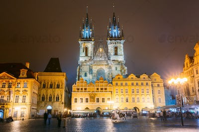 Prague, Czech Republic. Church Of Our Lady Before Tyn In Old Tow