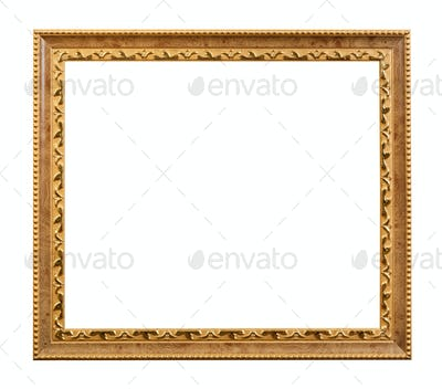 carved golden wooden picture frame isolated