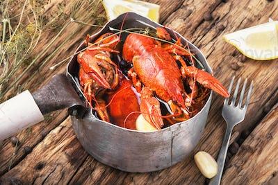 cooked crayfish in metal pan