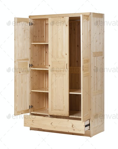 Three-section wardrobe with open doors isolated on white