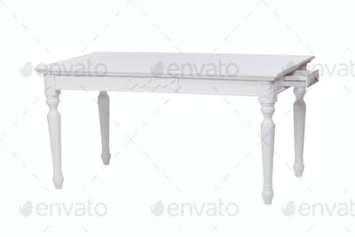 Elegant white table with an open drawer