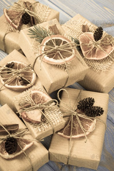 Aged photo, Wrapped gifts with decoration for Christmas or other celebration