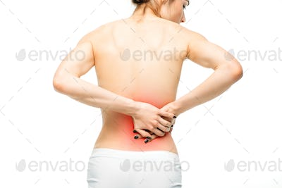 Kidneys pain, female person with backache