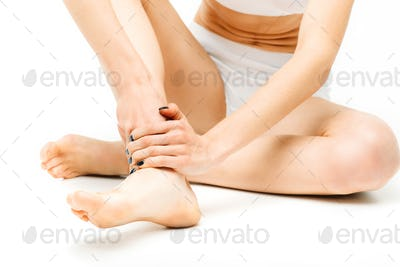 Joint pain, woman with leg injury, stretching