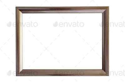 Brown picture frame on white background