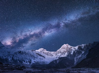 Milky Way and mountains in Nepal