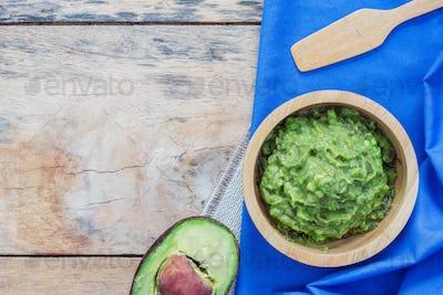 Avocado on tablecloth
