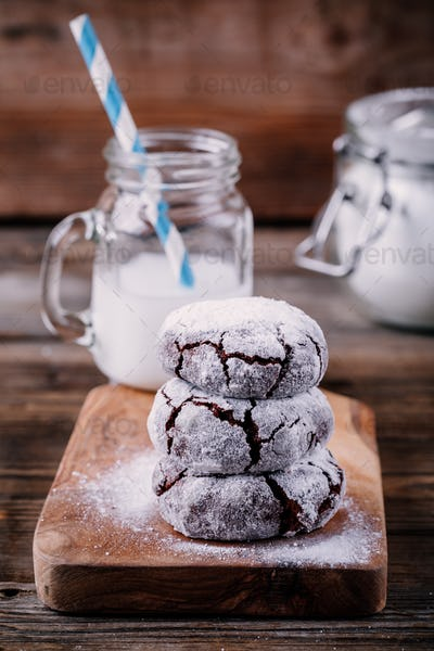 Chocolate crinkle cookies with powdered sugar icing for christmas