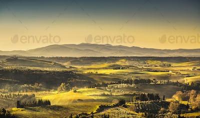 Maremma, rural sunrise landscape. Countryside old farm and green
