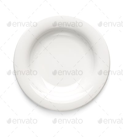 White dessert plate on a white background. View from above. Isol
