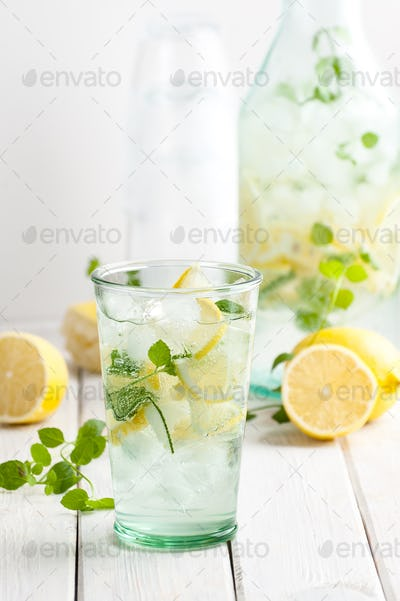 Lemonade from lemons, mint with gasiron water.