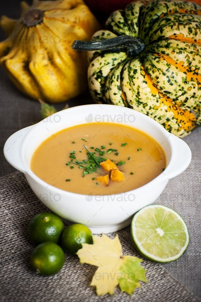 Jamaican pumpkin soup with lime.