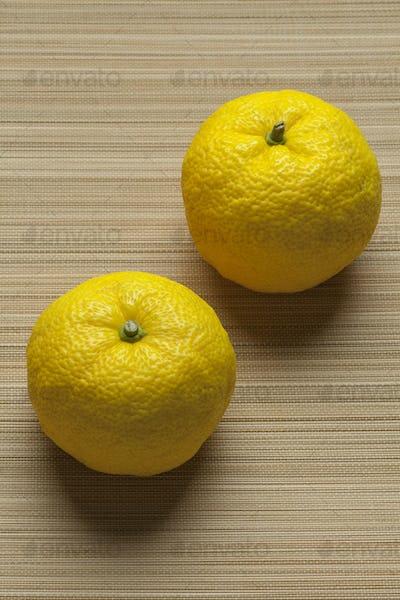 Fresh yellow Japanese Yuzu fruit