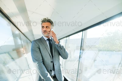 Mature businessman with smartphone travelling.