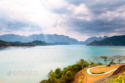 mountains and water under sunhine in Thailand