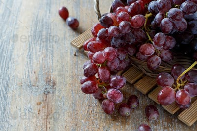 Grapes in a wooden basket