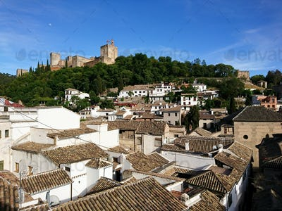 Views of the Alhambra from the streets of the Albayzin neighborhood