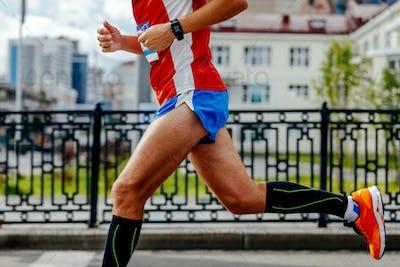 man running city marathon