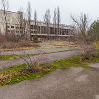 Central square in overgrown ghost city Pripyat.