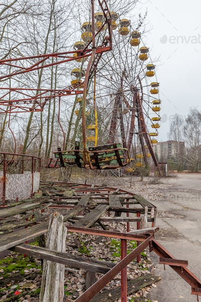 Attraction in amusement park in overgrown ghost city Pripyat.