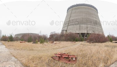 Outside view on unfinished cooling towers of Chernobyl nuclear power plant