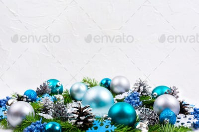 Christmas silver, pale blue, turquoise balls, glitter berries ba