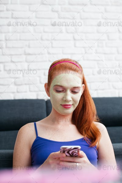 Beauty Treatment Skin Care For Girl Messaging Text On Phone
