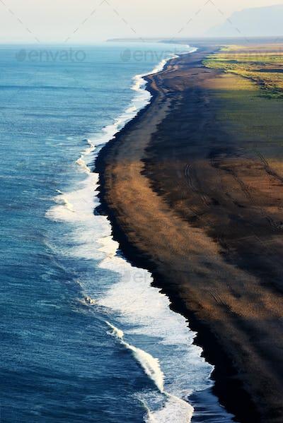 Black beach and Atlantic ocean