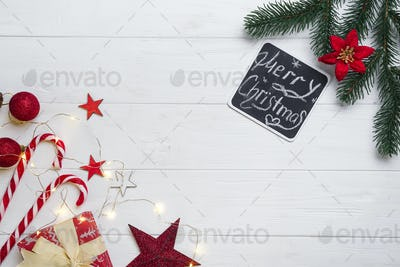 Christmas frame with candy and toys