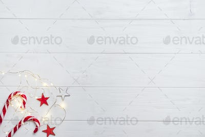 Christmas border with candy and lights