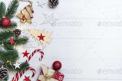 Christmas background with candy and toys